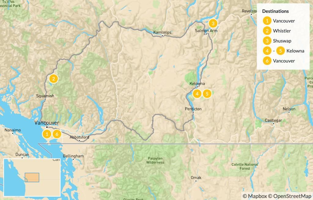 Map of British Columbia Circuit: Whistler, Shuswap, & Okanagan Valley - 7 Days