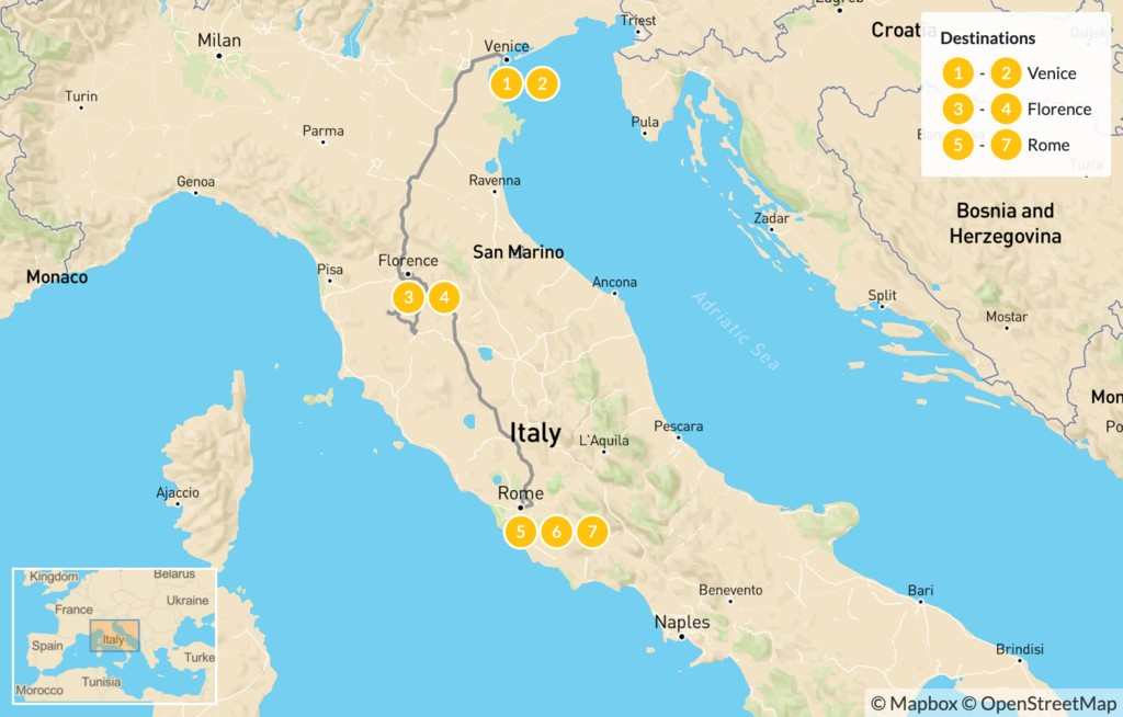 Map of Discover Venice, Florence & Rome - 8 Days