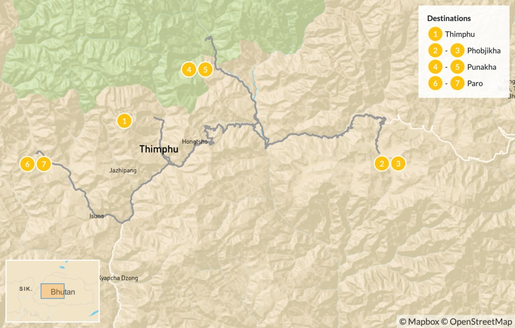 Map of Explore Western Bhutan - 8 Days