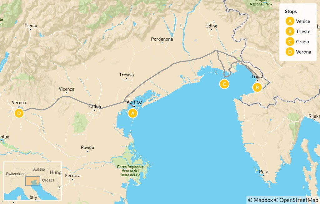 Map of Northeast Italy: Trieste, Grado, Venice, & Verona - 10 Days