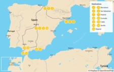 Map thumbnail of Spain North to South: Basque Country to Andalusia - 17 Days