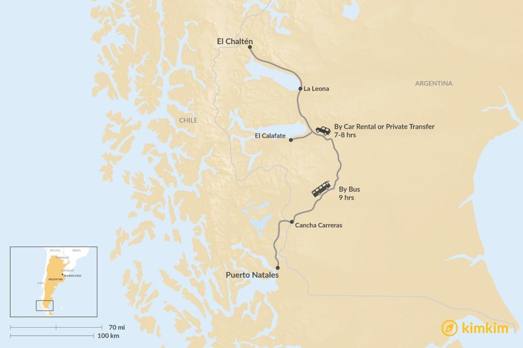Map of How to Get from Puerto Natales to El Chalten