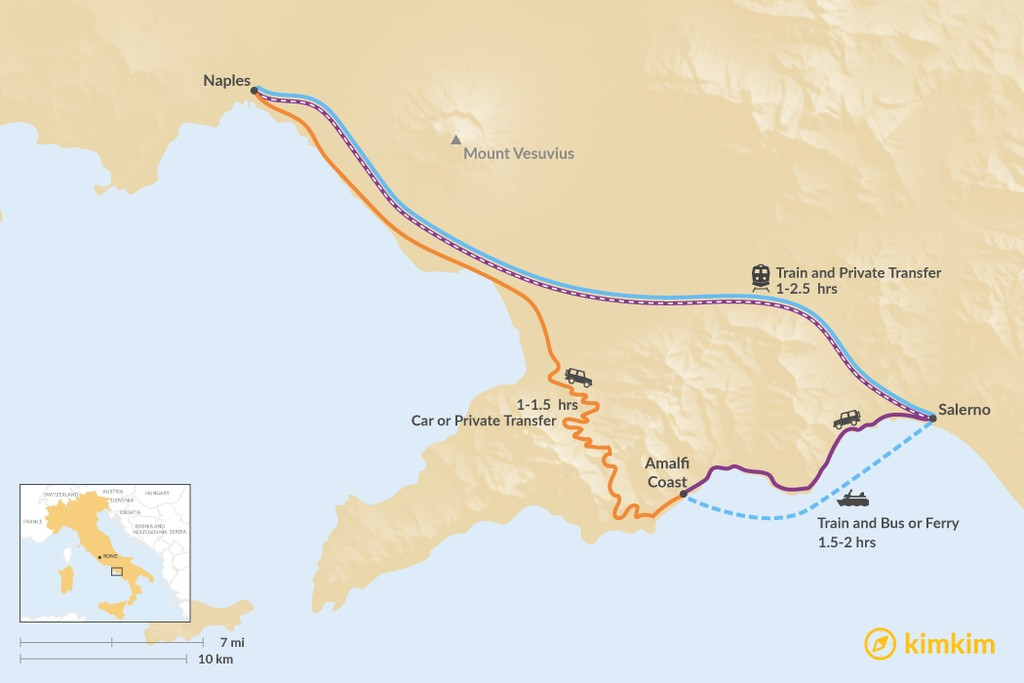 Map of How to Get from Naples to the Amalfi Coast