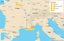 Map thumbnail of Paris, Provence & the French Riviera - 10 Days