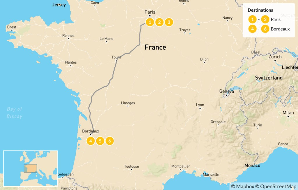Map of Luxury Food and Wine Tour: Paris & Bordeaux - 7 Days