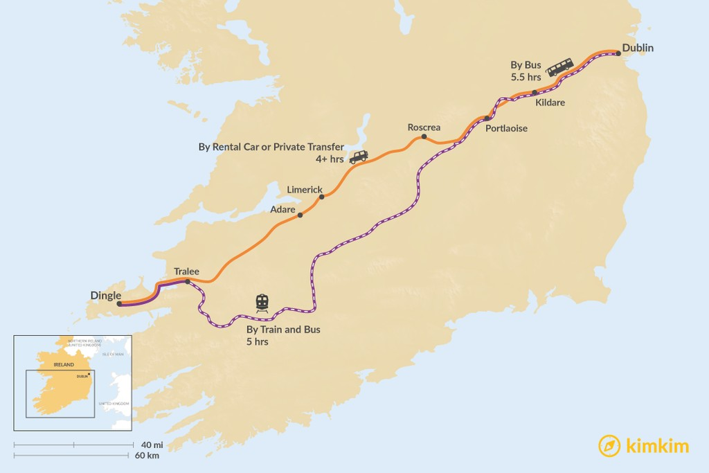 Map of How to Get from Dublin to the Dingle Peninsula