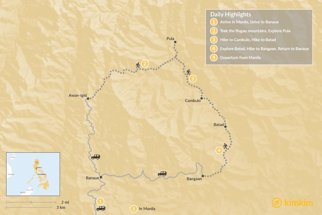 Map of Ifugao Village Trek - 5 Days