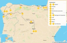 Map thumbnail of Ultimate Northern Spain Road Trip: Madrid, Galicia, & The Basque Country - 14 days