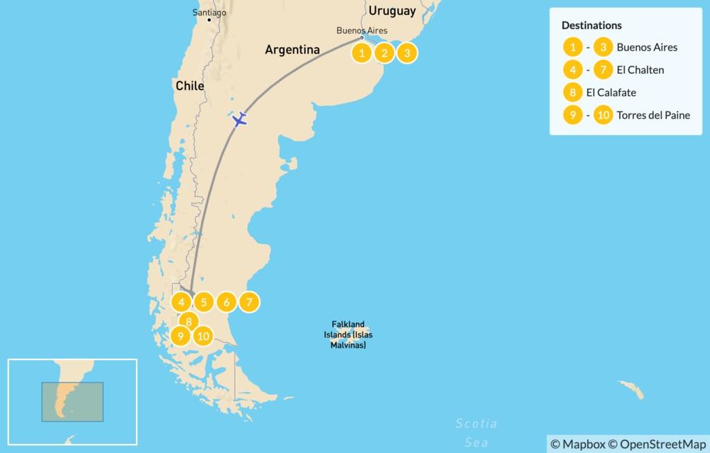 Map of Los Glaciares & Torres del Paine - 11 Days