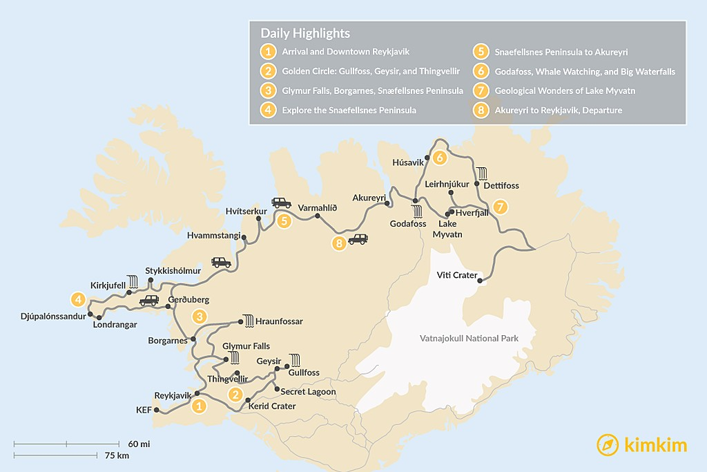 Map of Iceland Relaxed Self-Drive Tour - 8 Days