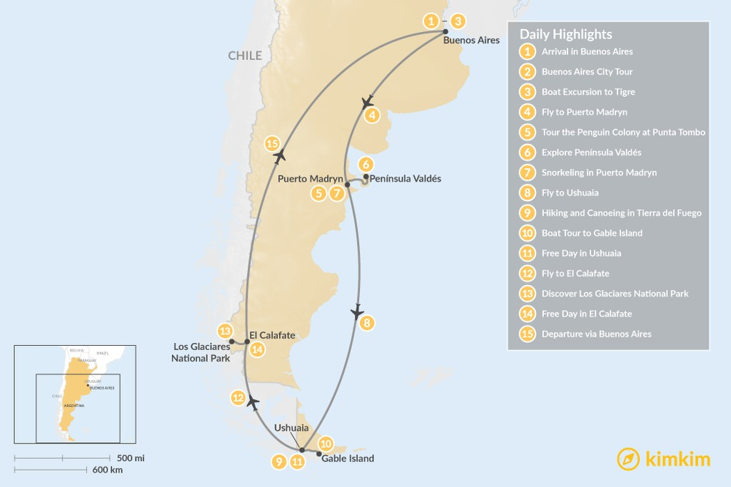 Map of Best of Argentinian Patagonia - 15 Days