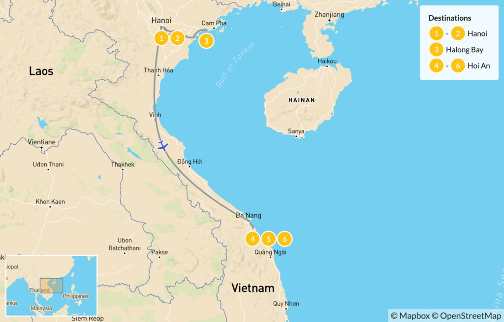 Map of North & Central Vietnam: Hanoi, Ha Long Bay, Hoi An  - 7 Days