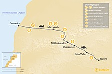 Map thumbnail of Marrakech, Quick Desert Tour & Essaouira - 8 Days