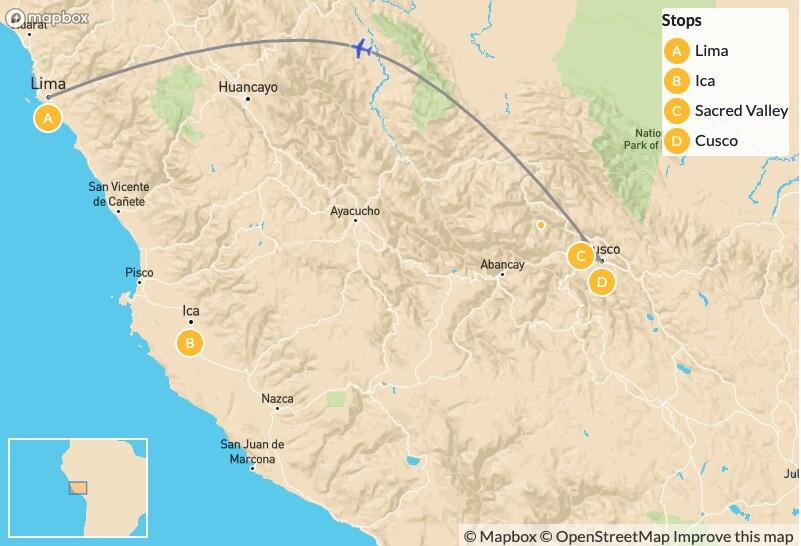 Map of Honeymoon Adventure to Peru: Lima, Ica, Cusco, & Machu Picchu - 10 Days