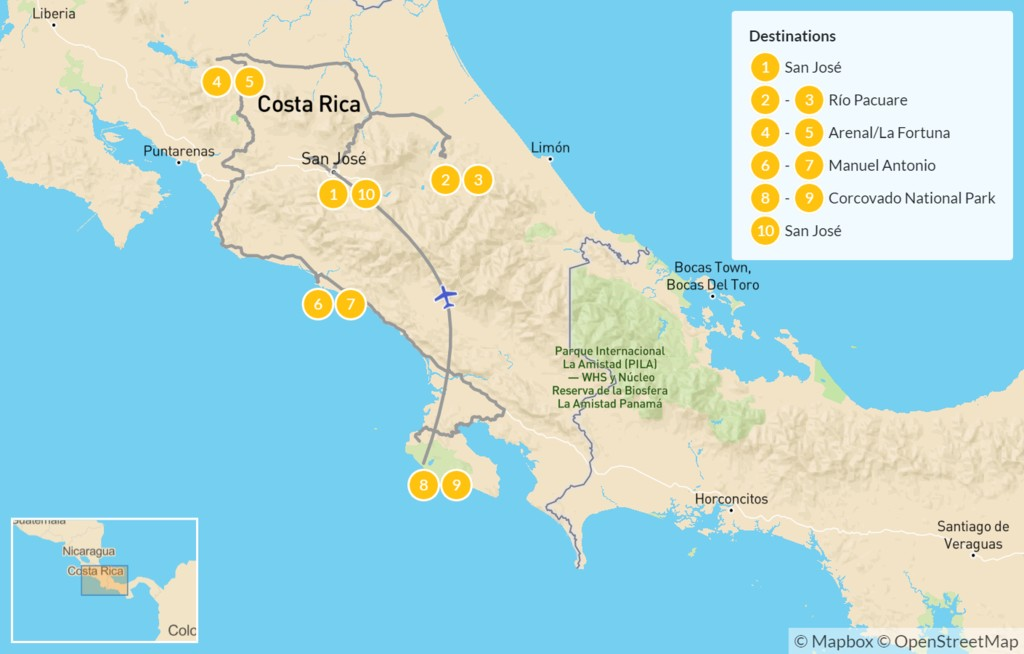 Map of Luxury Costa Rica Adventure: Pacuare, Arenal, Manuel Antonio, Osa Peninsula - 11 Days