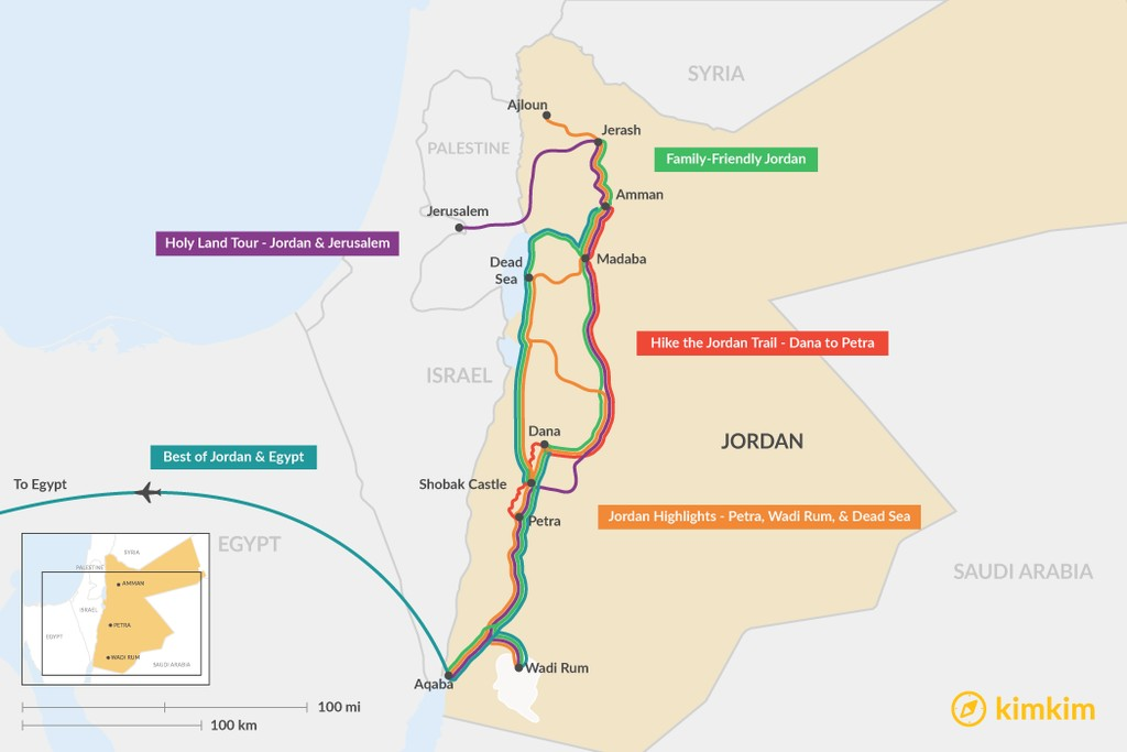 Map of 7 Days in Jordan - 5 Unique Itinerary Ideas