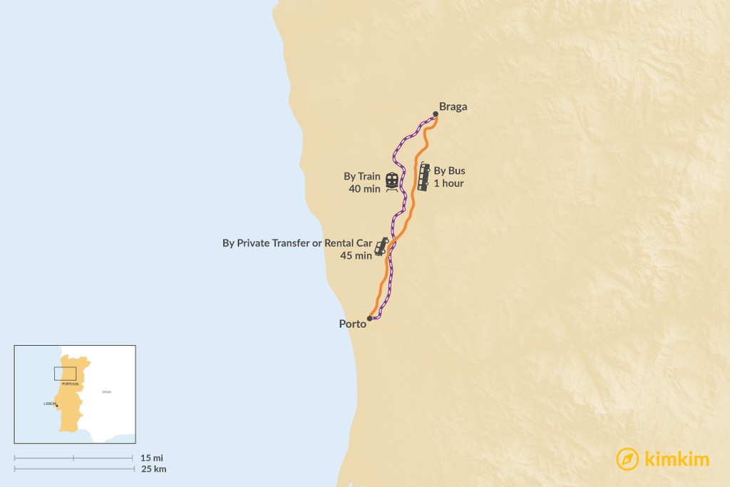 Map of How to Get from Porto to Braga