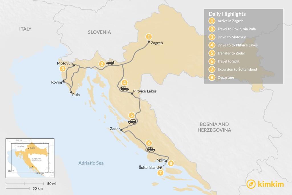 Map of Best of Croatia: Zagreb, Rovinj, Pula, & Split - 8 Days