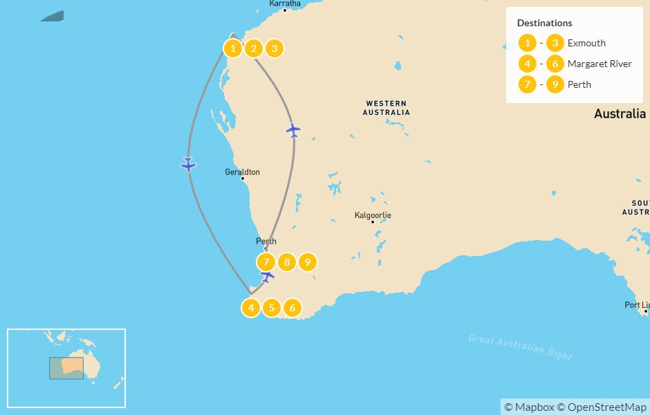 Map of Best of Western Australia: Exmouth, Margaret River, & Perth - 10 Days