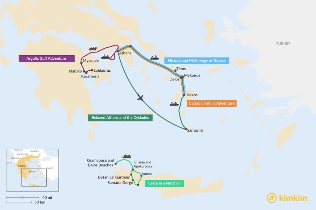 Map of 8 Days in Greece - 5 Unique Itineraries