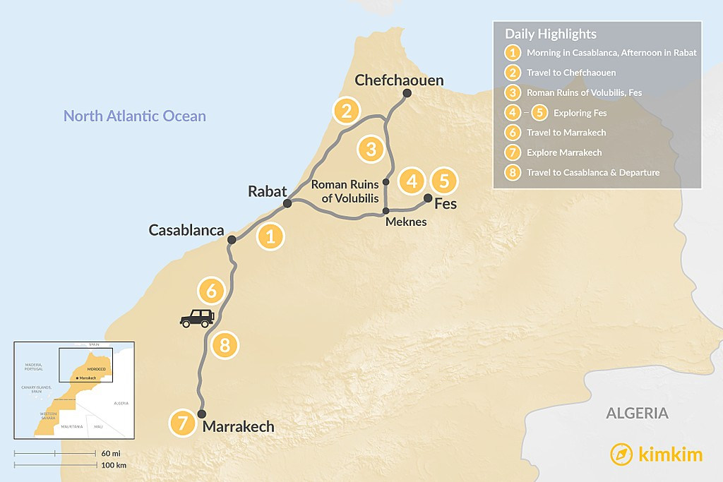 Map of Moroccan Cities Grand Tour - 8 Days