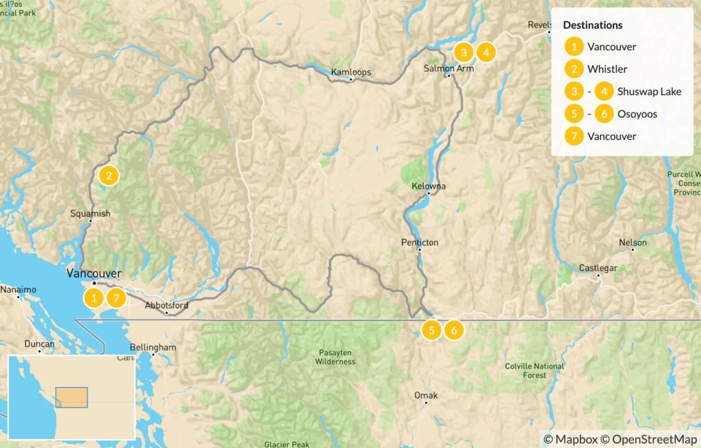 Map of British Columbia Circuit: Whistler, Shuswap, & Okanagan Valley - 8 Days
