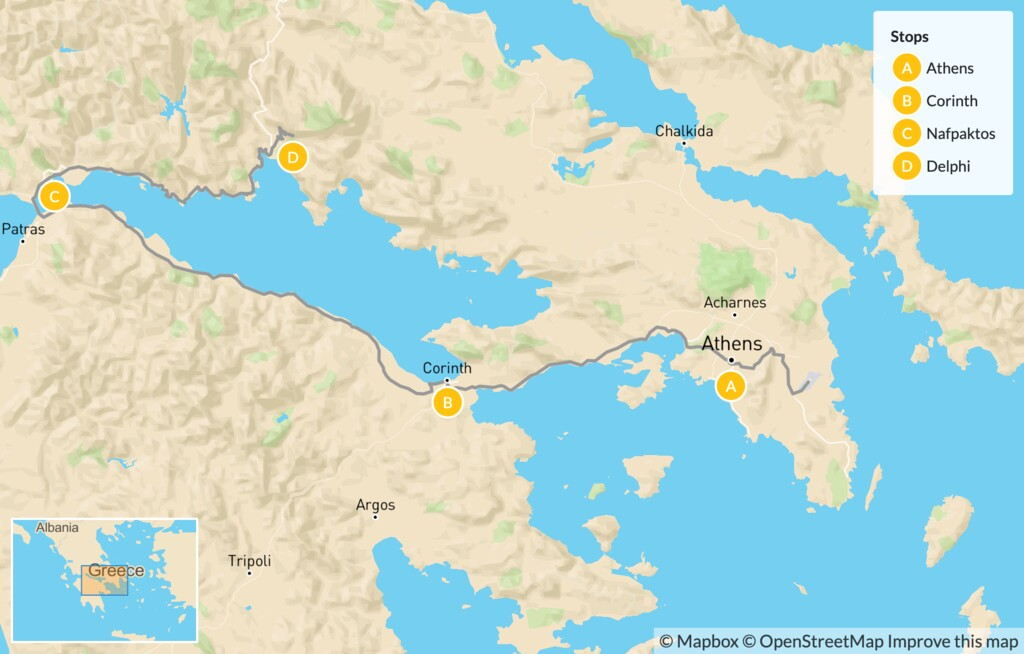 Map of Family Exploration of Mainland Greece: Athens, Corinth, Nafpaktos & Delphi - 7 Days