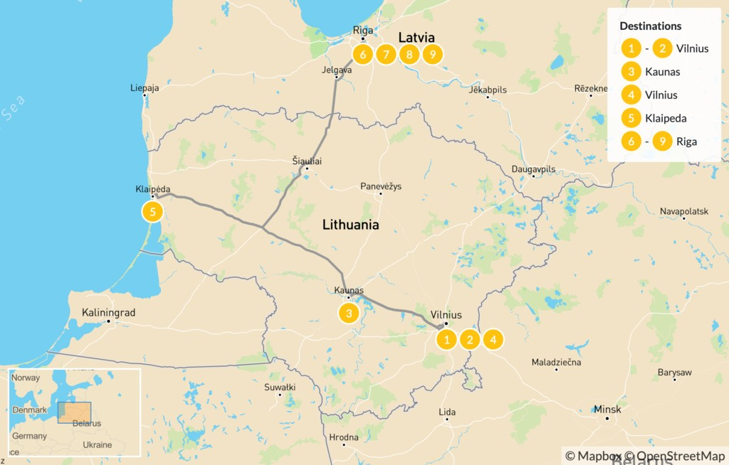 Map of Jewish Heritage in Lithuania & Latvia - 10 Days
