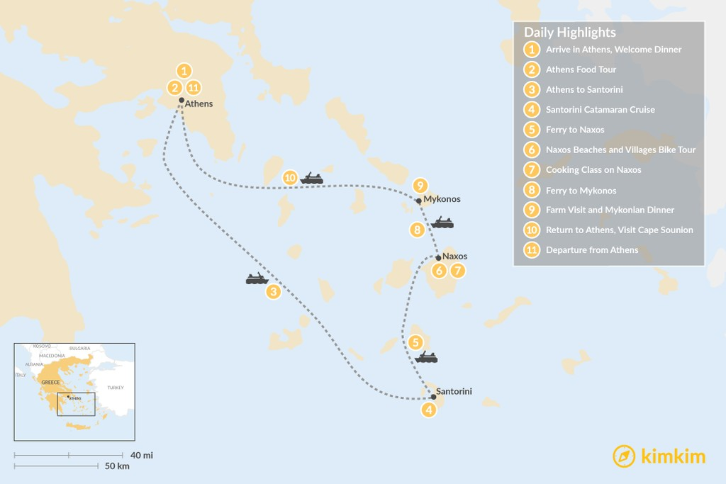 Map of Relaxed Athens, Santorini, Naxos & Mykonos - 11 Days