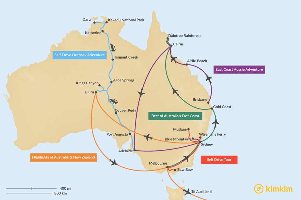 Map of 14 Days in Australia - 5 Unique Itinerary Ideas