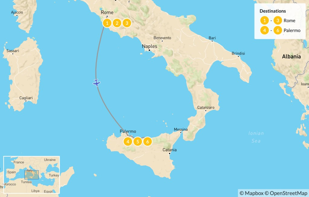 Map of Rome & Sicily Highlights - 7 Days