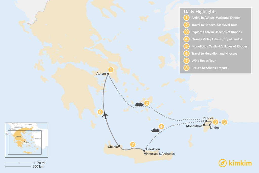 Map of Discover Rhodes and Crete - 8 Days