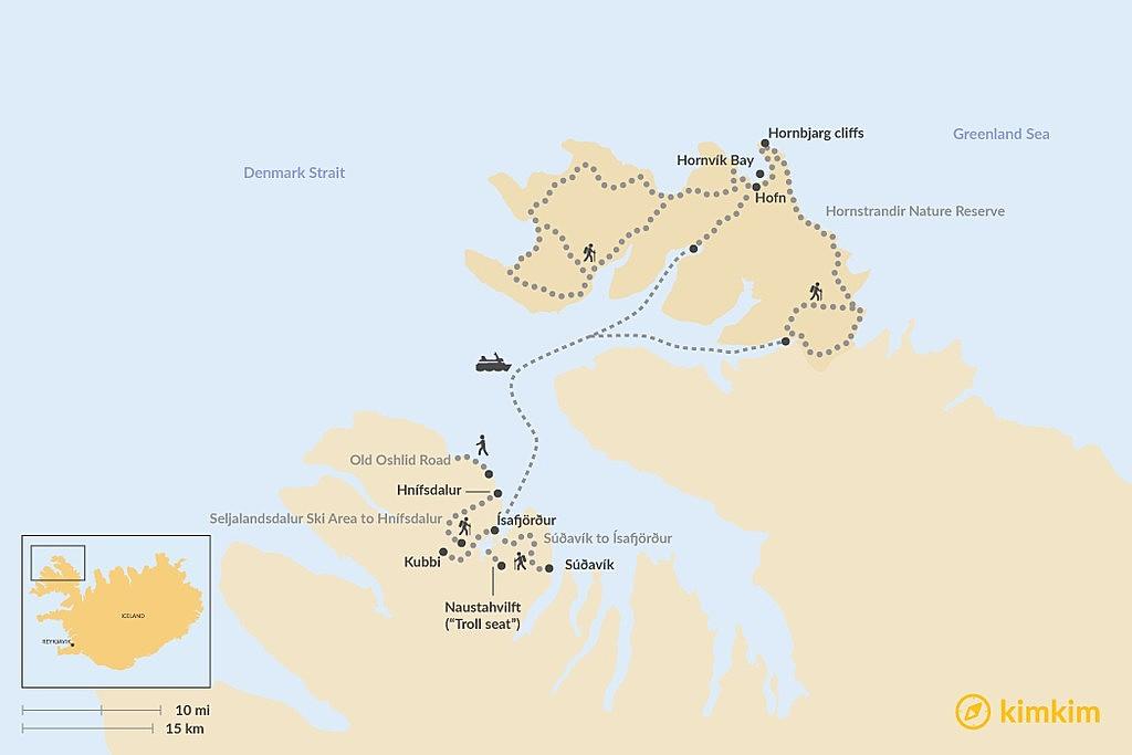 Map of Best Panoramic Hikes around Ísafjörður: Calm Fjords and Untouched Nature