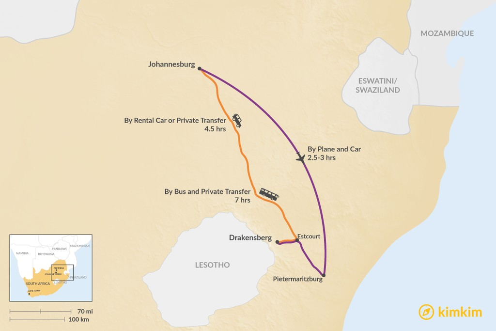 Map of How to Get from Johannesburg to Drakensberg