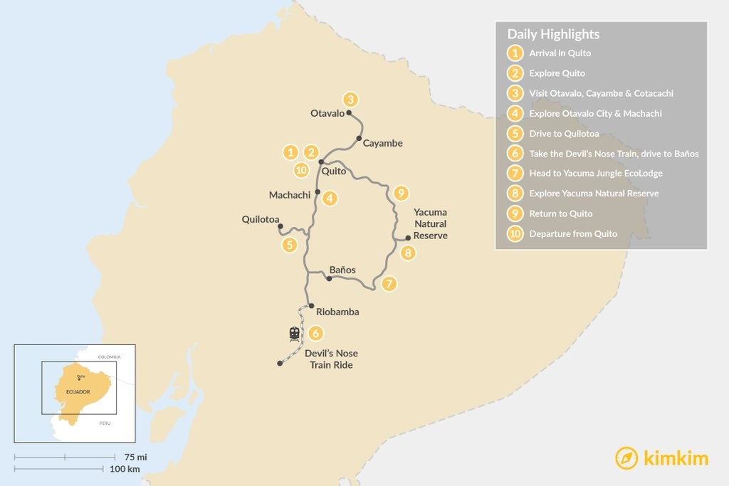 Map of Voyage Across Ecuador: Highlands and Jungle Lodge Tour - 10 Days