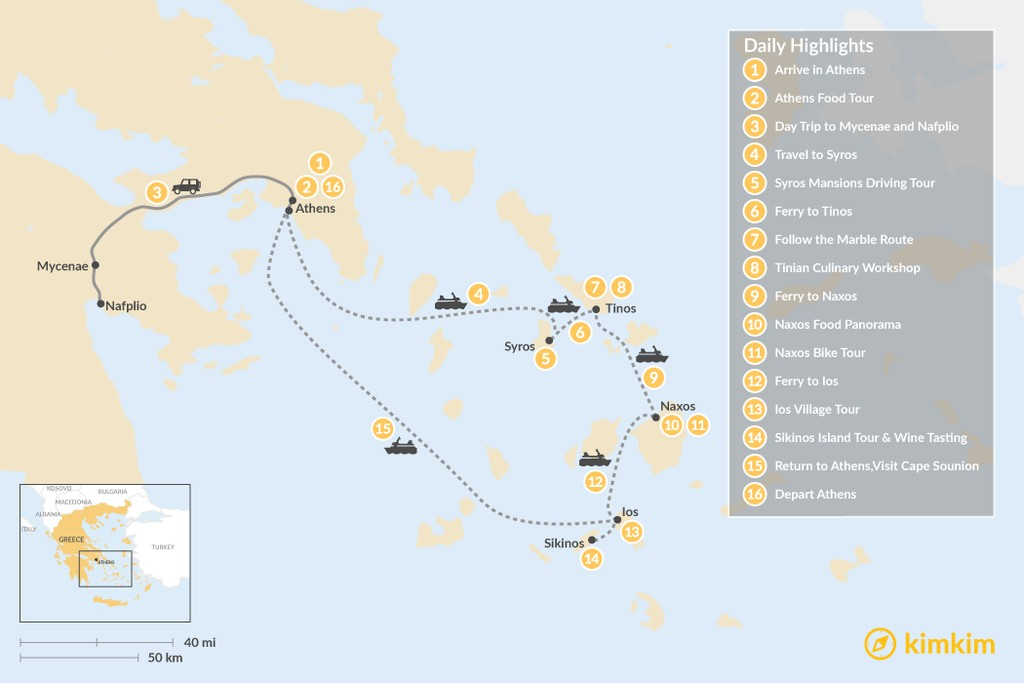 Map of Relaxing Secret Cyclades - 16 Days
