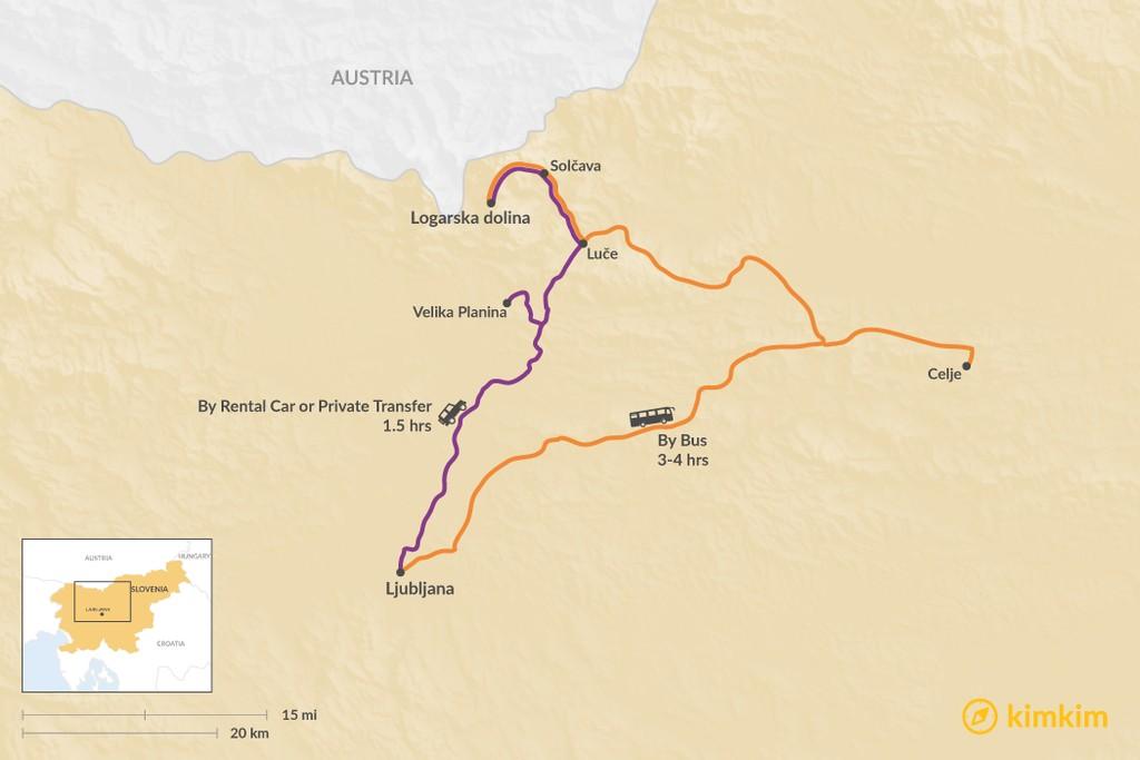 Map of How to Get from Ljubljana to Logarska dolina