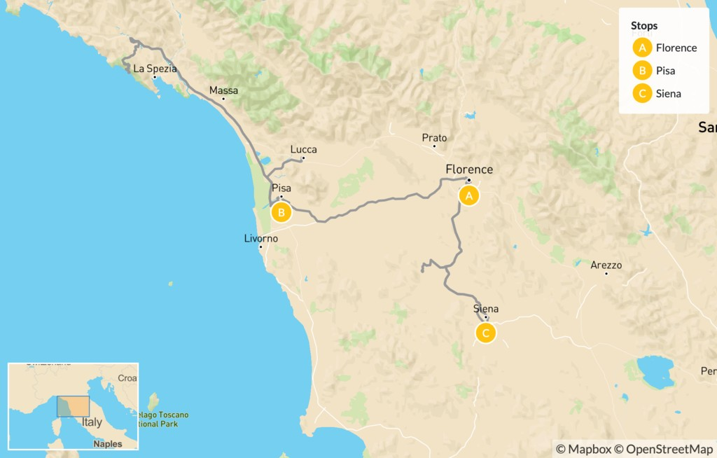 Map of Tuscany Self-Drive Tour - 9 Days