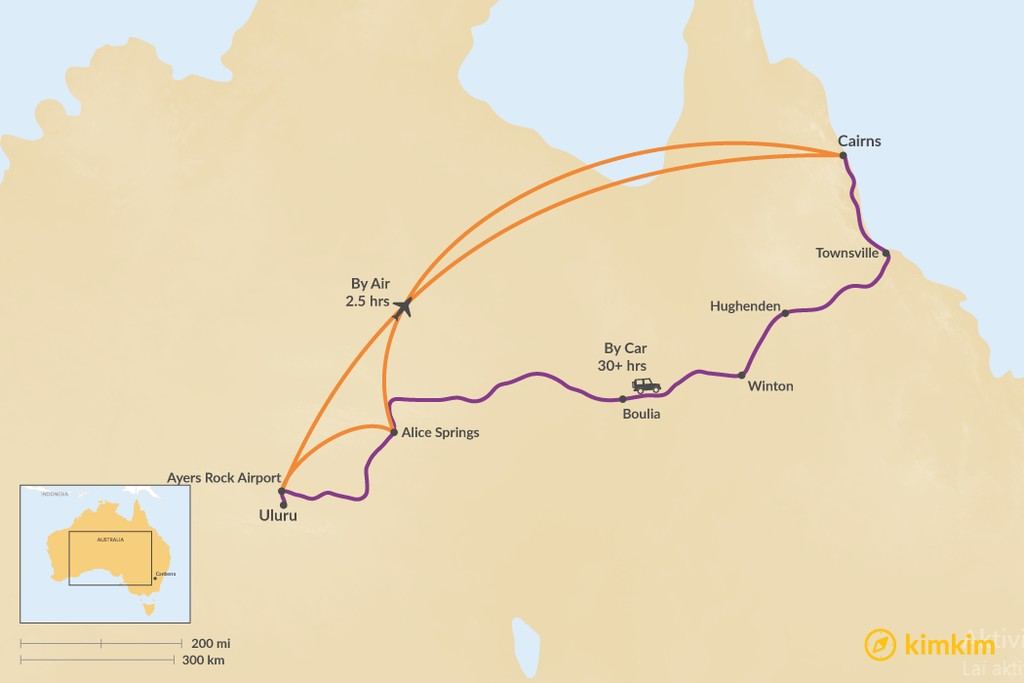 Map of How to Get from Uluru to Cairns