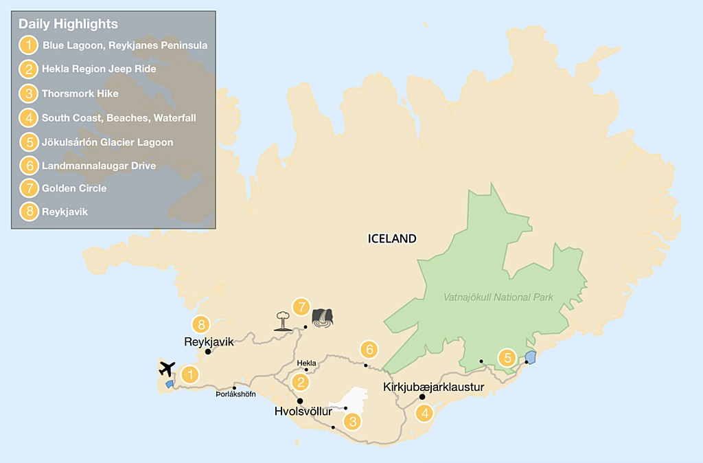 Map of Southern Iceland: Explore Volcanoes, Lagoons, Glaciers and Hiking Trails - 8 day Itinerary