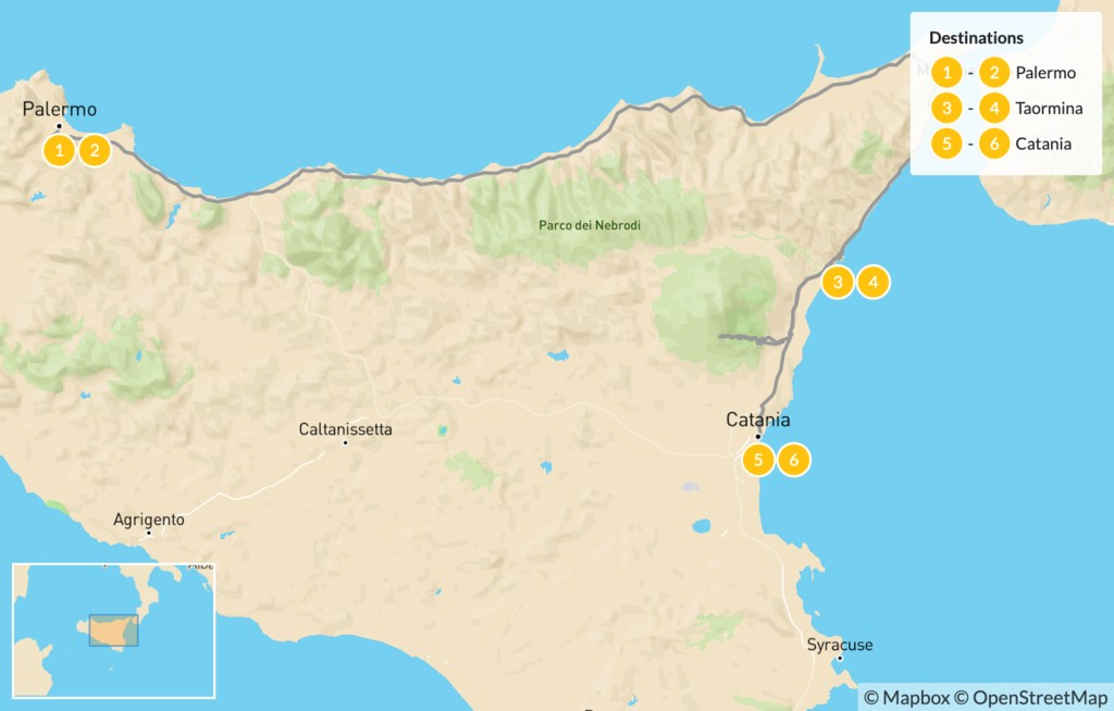Map of Best of Sicily: Palermo, Taormina, Catania - 7 Days