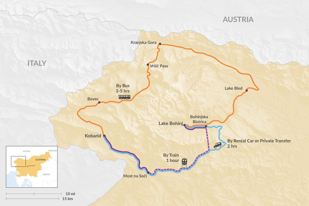 Map of How to Get from Bohinj to Kobarid