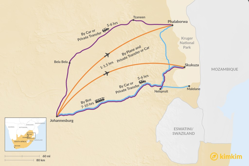 Map of How to Get from Johannesburg to Kruger National Park