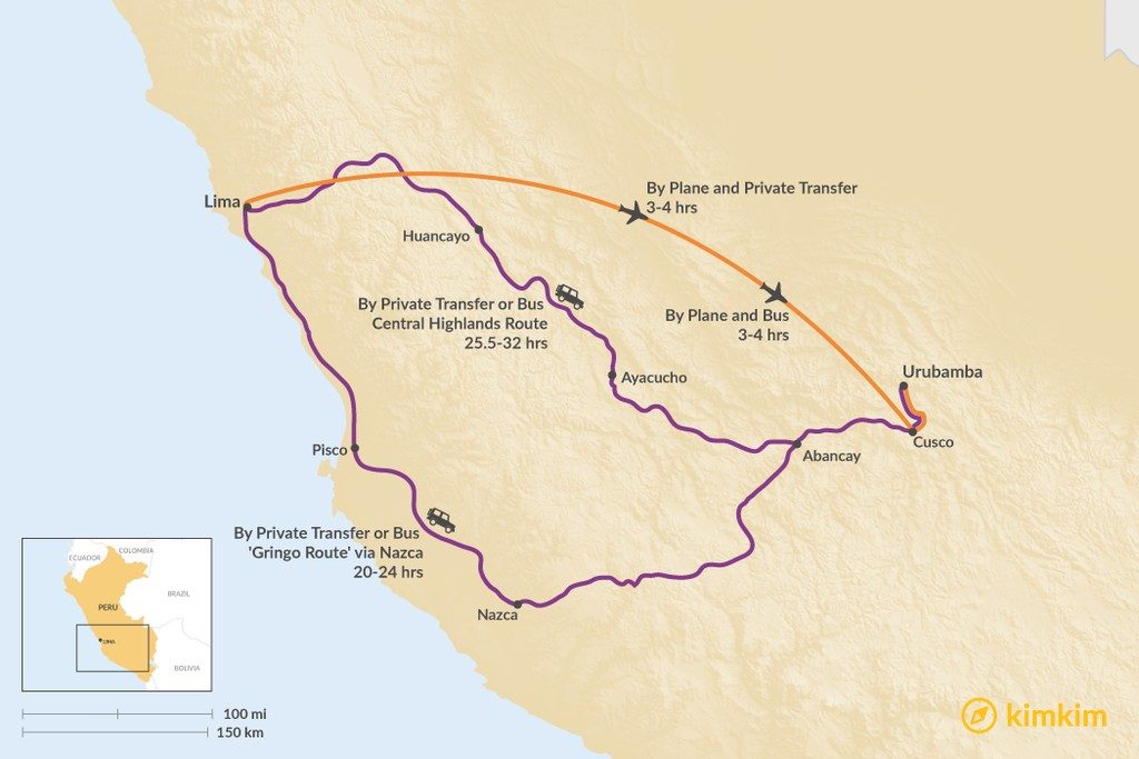 Map of How to Get from Lima to Urubamba