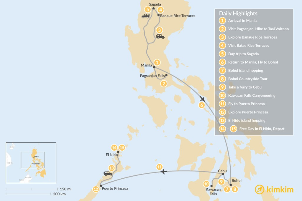 Map of The Philippines Highlights: Sand, Sea & Mountains  - 15 Days