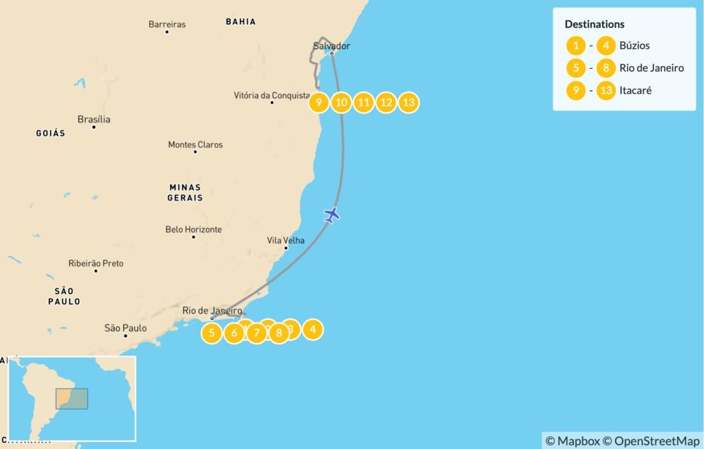 Map of Beach Honeymoon in Brazil: Búzios, Rio de Janeiro & Itacaré - 14 Days