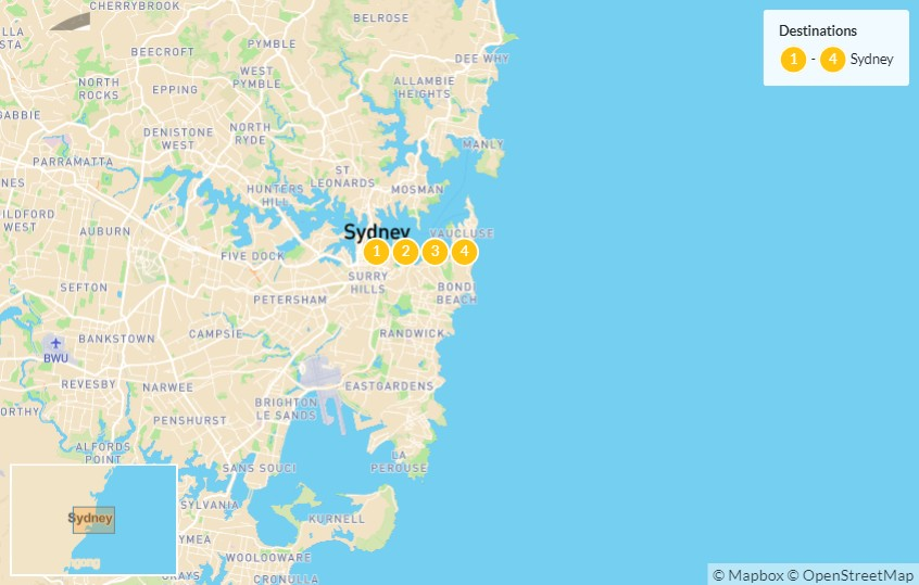 Map of Highlights of Sydney: Bondi Beach, Sydney Harbour Bridge, Sydney Opera House, & More - 5 Days