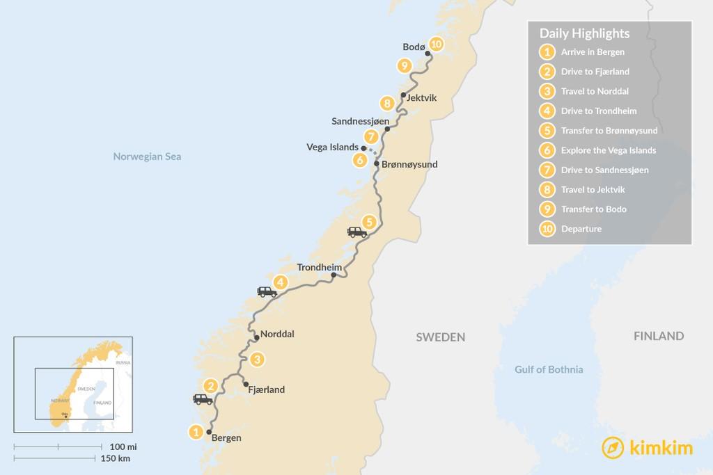 Map of Summer Road Trip: Helgelands Coastal Tour - 10 Days