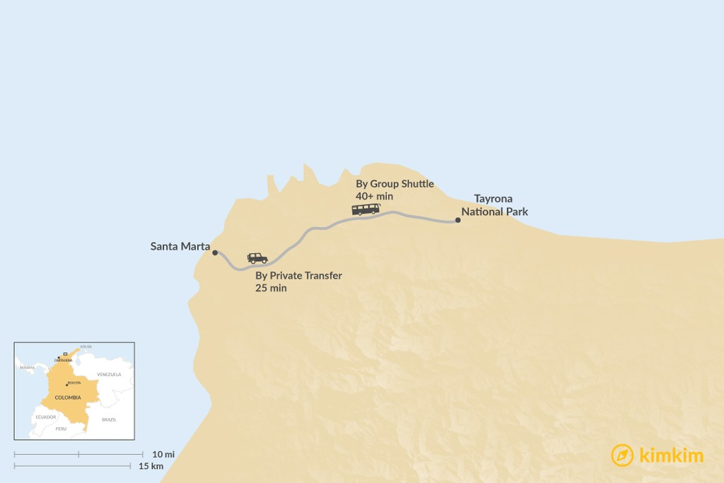 Map of How to Get from Santa Marta to Tayrona Park