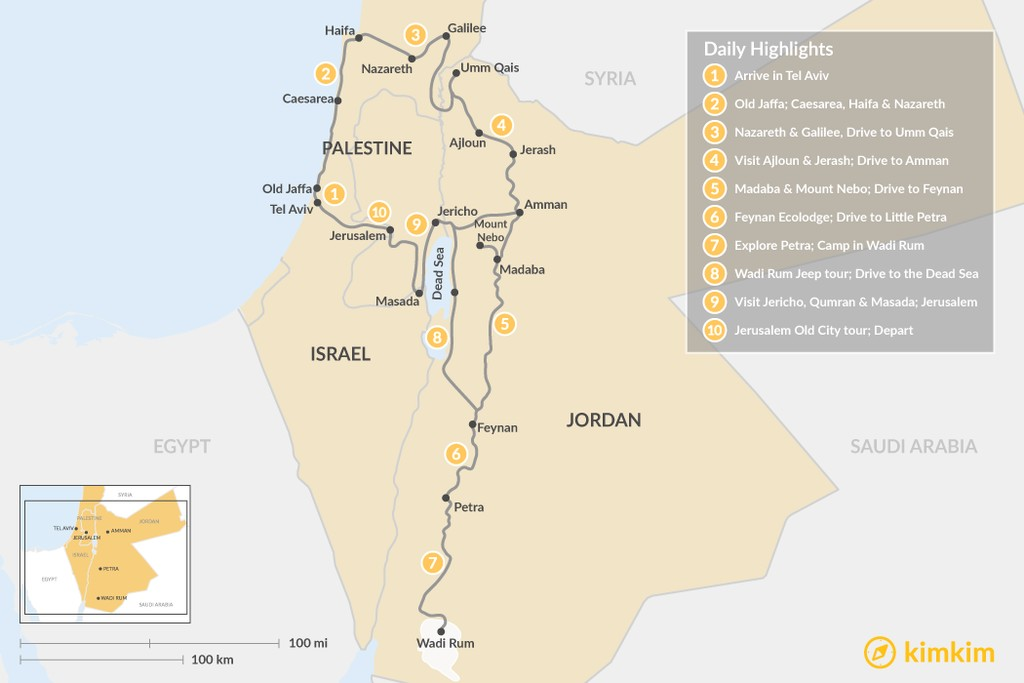Map of Holy Land Off the Beaten Path: Israel & Jordan - 10 Days